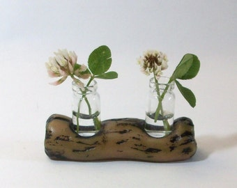 Fairy Garden Pair of Miniature glass vases with Log planter