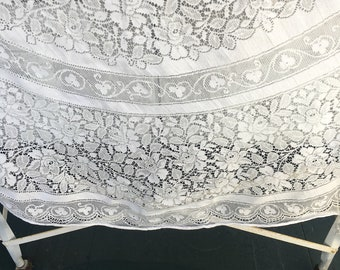 Vintage Lace Tablecloth, white, Oblong, 65 x 100, wedding, shower