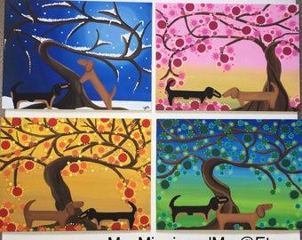 Dachshund 4 Season Original Paintings Winter Spring Summer and Fall