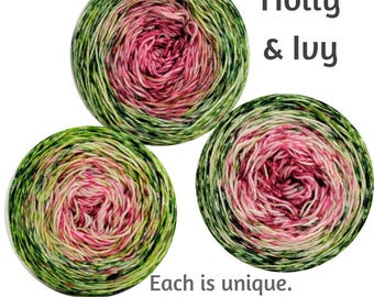 Holly and Ivy Impressionist Gradient, dyed to order - pick your yarn and yardage!