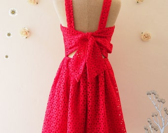 Red Prom Dress Vintage Summer Dress Red Sundress Eyelet Lace Dress Back Bow Backless Party Dress Wedding Photoshoot Dress