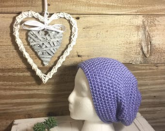 Handmade Crochet Knit Soft Warm Simple Slouch Winter Hat/Toque/Beanie - Lavender/purple