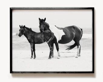 Horse decor, PRINTABLE art, Black and white art, Horse print, Horse photography,  Minimalist art, Modern print, Wild horses print