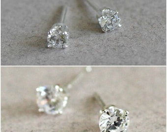 Cubic Zirconia Stud Earrings, Cubic Zirconia Studs, CZ Stud Earring Set, CZ Studs, CZ Stud Earrings, April Birthstone Studs, Gifts Under 40