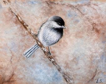 Original pastel drawing Bird