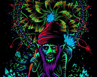 Psy backdrop 'The Master of Portals' UV blacklight active fluorescent psychedelic tapestry wall hanging decoration goa  visual art fantasy