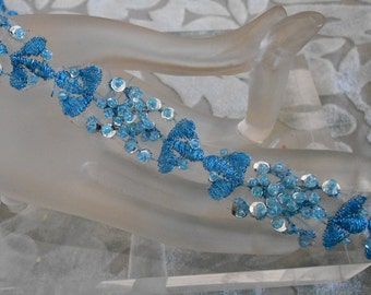 Blue Beaded Sequined Trim