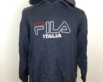 FREE SHIPPING!!! Fila Hoodie Pullover Spellout Big Logo Embroidery