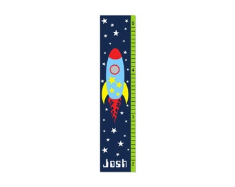 Growth Chart Children Canvas Growth Chart Space Rocket Ship Rocketship Outer Space