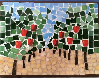 Mosaic wall art kit fall 9x9 diy mosaics tiles craft adults do apple orchard diy mosaic stress relieving unique gift wall decor mindfulness project diy wall art apple picking art kit for aduts solutioingenieria Choice Image