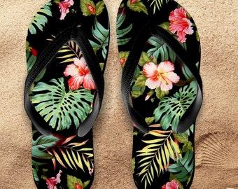 Hawaii Flip Flops/ Hawaii Palms Tropical Flip Flops / Hawaii Souvenir Luau Island Hibiscus And Palm Fronds Beach Vacation Sandals