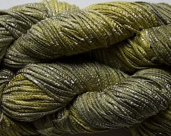 Bamboo Tape Ribbon 150 yds, Hand dyed yarn - Leaf Tonal