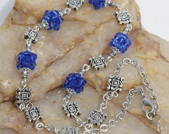 Blue Crystal Necklace Silver Wire Wrapped Necklace