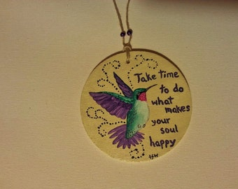 Hand Painted Hanging Wooden Ornament Hummingbird
