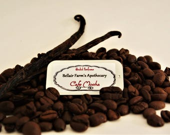 Cafe Mocha, Solid Natural Perfume Limited Edition.  Handmade coffee and vanilla infusion accented with cocoa absolute, cardamon