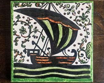 Medieval sailboat Hand painted decorative tile Socarrat style