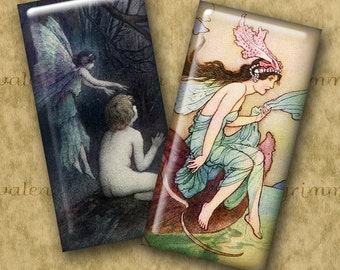 1x2 inch SUPERNATURAL Digital Printable Domino collage sheet for Pendants Magnets Crafts...vintage fairies + More by Warwick Goble