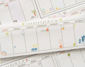 weekly planner sticky note sticky memo post-it cartoon