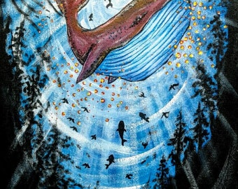 """Original Indonesian Psychedelic Surreal Art Acrylic Painting """"Queen of the Deep Sea"""" FREE SHIPPING"""