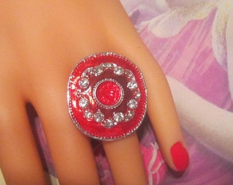 Huge Red Vintage Ring With Rhinestones - Size 7.5 (Adjustable Up in Size) - R-060