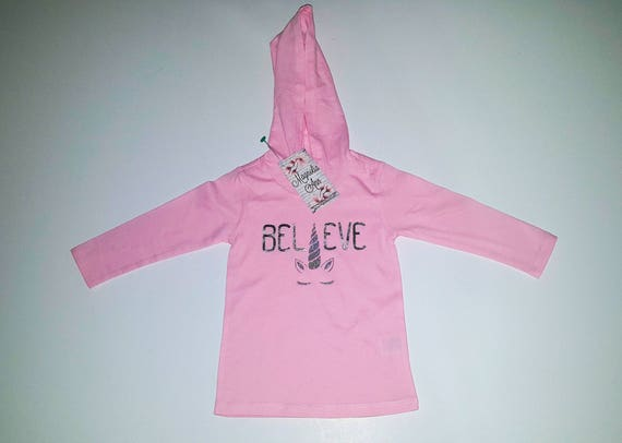 Believe Unicorn Pale Pink Lightweight Long Sleeve Hoodie, Baby, Infant, Toddler Hoodie, Baby Unicorn Shirt, Baby Unicorn Outfit, Unicorn Tee