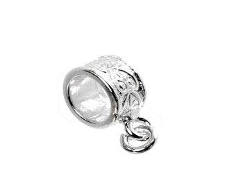 Sterling Silver Flat Heart Patterned Dangle Charm Slider