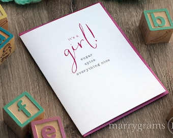 It's a Girl! New Baby Girl Congratulations Newborn Greeting Card, New Parents, That's What Girls are Made Of