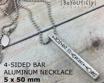 5x50mm Aluminum Personalized Hand Stamped Bar Necklace, 4 Sided Solid Bar, Four Sides Pendant, Children's Names, Mom Necklace, Bar Pendant