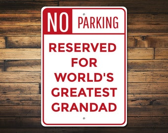 Grandad Gift, Grandpa Parking Sign, Grandad Garage Decor, Grandad Sign, Grandpa Present, Father's Day Gift , Quality Aluminum ENS1010063