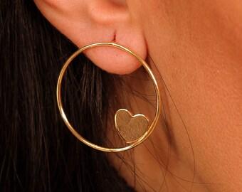 Circle with heart stud handmade earrings - 925 sterling silver earring