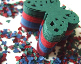100, blue, green, tomato red, burgundy, cream,Paper butterflies, confetti, paper craft, card making, by DoodleDee2