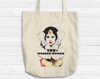 YOU Equals Wonder Woman TOTE Canvas Bag, Girl Power Tote, Reusable Denim Natural Cotton Tote, Superhero Book Shopping Bag Gift Made in USA