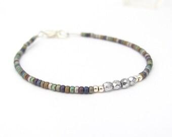 Rustic Silver Metallic Bracelet, Multi Color Friendship Bracelet, Seed Bead Bracelet, Beaded Bracelet, Matte Metallics Jewelry, Yoga Zen