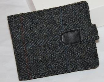 Harris Tweed wallet, charcoal herringbone, for him, credit cards, bill fold