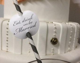 Eat Drink and Be Married Straw Tags (25)