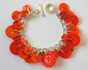Button Bracelet Pumpkin Orange