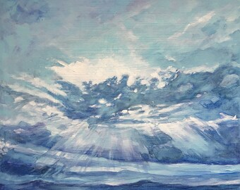 Blue Clouds Painting- 8x10x1- Original Gouache Watercolor- Wood Block- Ready to Frame-  Colorado- Blue, Turquoise, White
