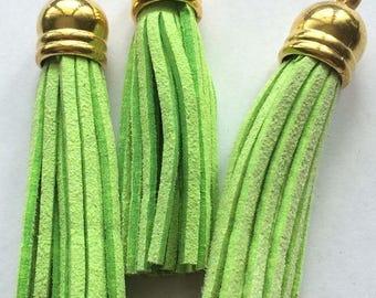 60 mm Apple green + gold tassel charms pendants