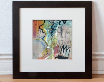 Modern/Contemporary art-abstract-figurative painting image 15/15 cm (5.9/5.9 inch)