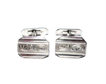 Vintage Cufflinks 835 Silver, engraved Mens Jewelry