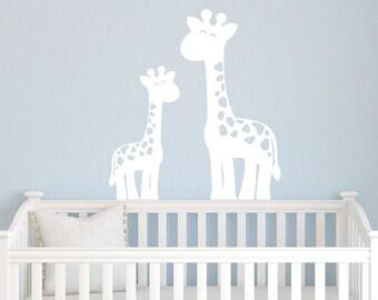 Giraffe Wall Decals, Jungle Nursery Decor, Safari Wall Decals, Boy Nursery, Childrens Wall Decals, Mom & Baby Giraffe Set