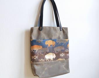 Waxed Canvas Tote Bag Made with Buffalo Pendleton® Wool Fabric / Waxed Canvas Bag / Shoulder Bag Purse / Large Purse / Waxed Canvas Tote