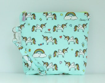 Unicorn Magic Zip Bag / Pouch with Wrist Strap