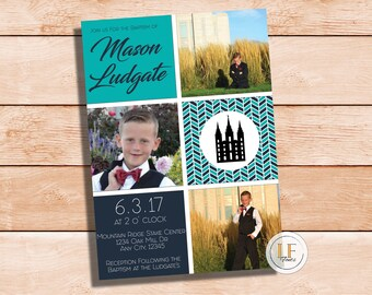 24 HR or LESS // Temple Baptism Boy Invitation/Announcement