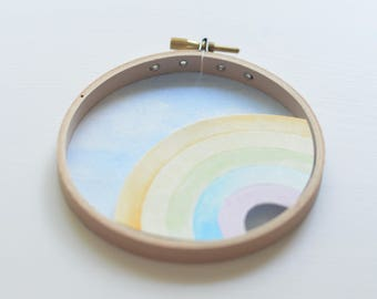 "Watercolour pastel rainbow and sky diorama 4"" round wall hanging 3D painting cut paper collage art"