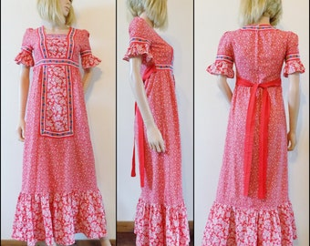 Red floral hippie boho maxi dress long red flowery French hand made dress size small