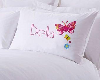 "Monogrammed Butterfly Bella Pillowcase 30"" x ""20"
