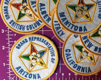 Order of the Eastern Star Grand Representative Iron On Patches - OES