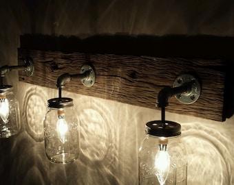 Barnwood Mason Jar Light Fixture