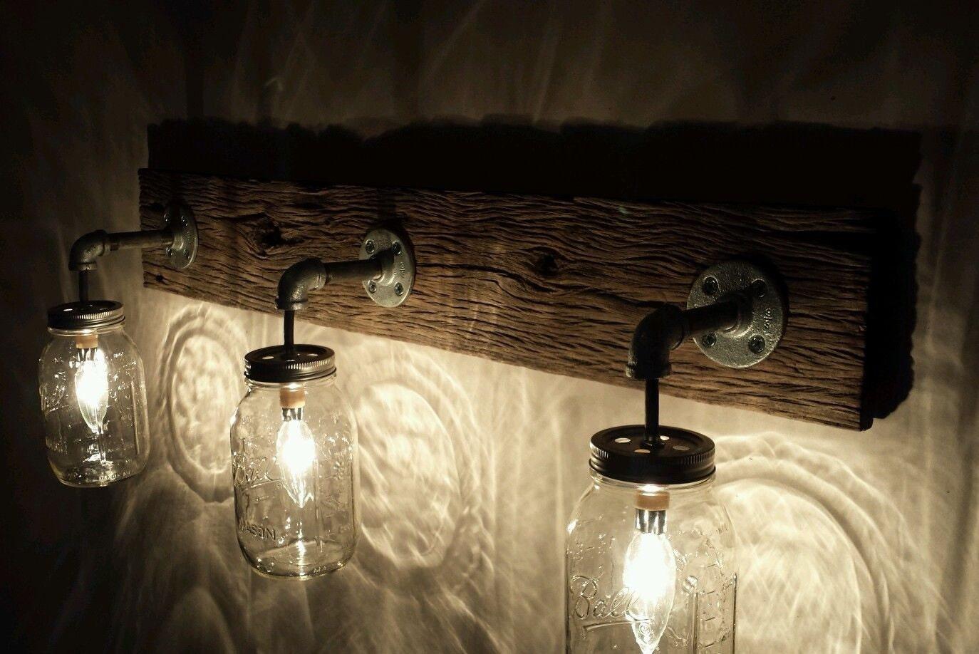 Barnwood mason jar light fixture zoom mozeypictures Image collections